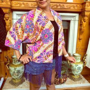 TRINA TURK Tops Silk Printed Kimono Fringe NWOT XS